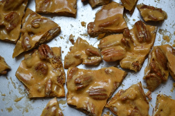 Pecan Brittle on a tray